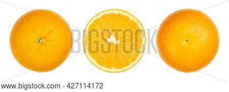 Valencia Orange, Top View, Cut In Half With Cross Section And Bottom View, Isolated And On White Bac