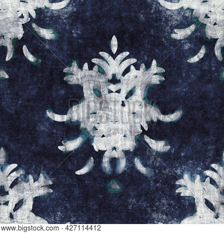 Seamless Highly Textured Intricate And Ornate Pattern In Navy Blue