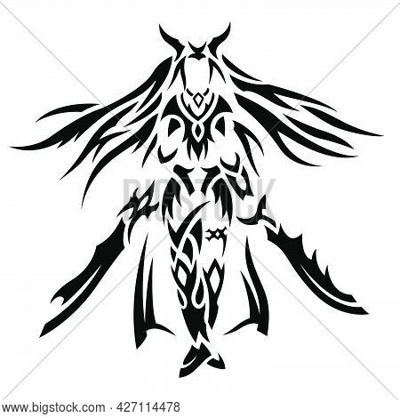 Beautiful Monochrome Vector Tribal Tattoo Illustration With Stylized Strong Woman Warrior Silhouette