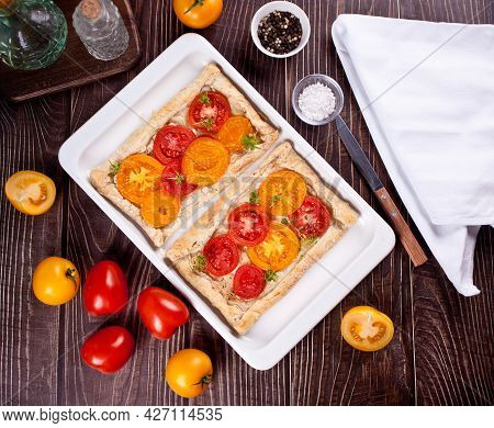 Tart Puff Pastry Quiche With Roasted Tomatoes