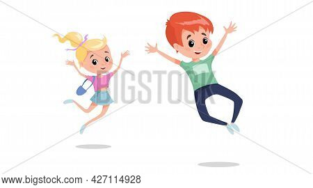 Happy Children Jumping And Laughing. Caucasian School Age Children Illustration. Best For Posters, B