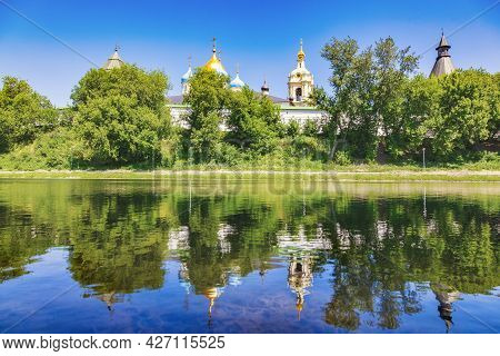 Panoramic View Of The Novospassky Stavropol Monastery On A Sunny Summer Day. Reflection Of The Monas