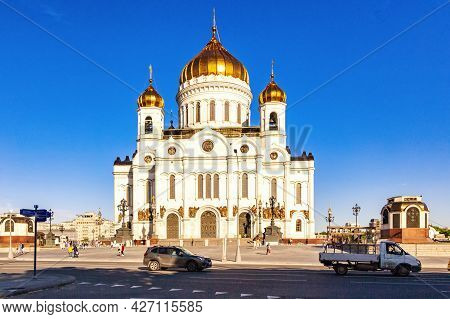 Cathedral Of Christ The Savior On A Sunny Summer Day. View From Volkhonka Street. Moscow, Russia, Ju