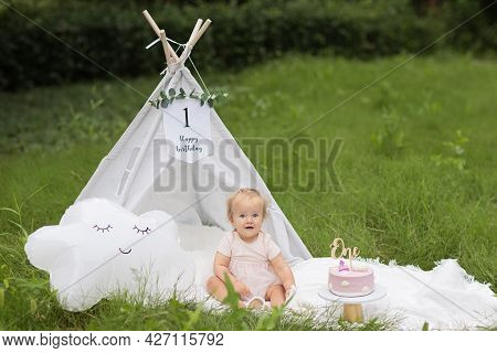 Beautiful Photo Session Set Up For Baby Girl Celebrating One Year Old Birthday, Outdoor At Summer Wi