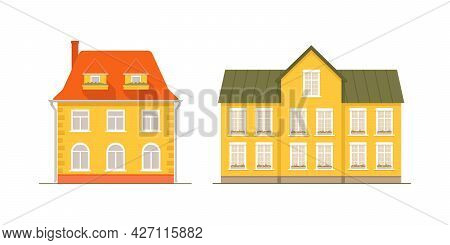 Cozy Colorful Houses In Row With Tiled Roof, Town House, Street. Large Windows Decorated With Flower