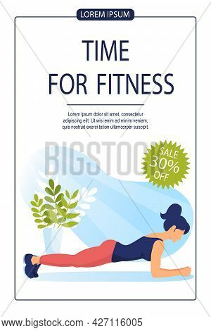 Young Athletic Woman Stands In Plank Pose. Promo Banner For Fitness Training. Sports, Workout, Healt