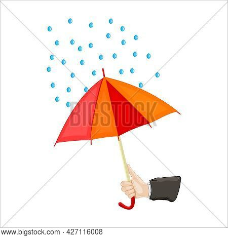 Hand Holding Umbrella Isolated On White Background. Human Hand Holding Open Red And Yellow Parasol W