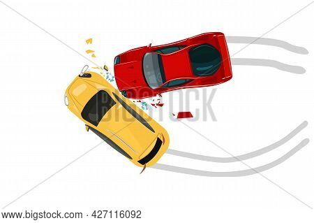 Car Crash Isolated On White Background. Road Collisition. Road Accident Icon. Damaged Transport. Cit