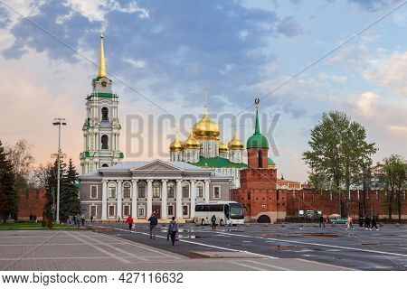 Tula, Russia - May 2021: View Of The Tula Kremlin In The Evening At Sunset. People In The Square Nea