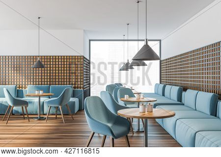 Restaurant With Accent Blue Furnishings And Panoramic View, Pendant Grey Lamps, Lattice Black Wooden