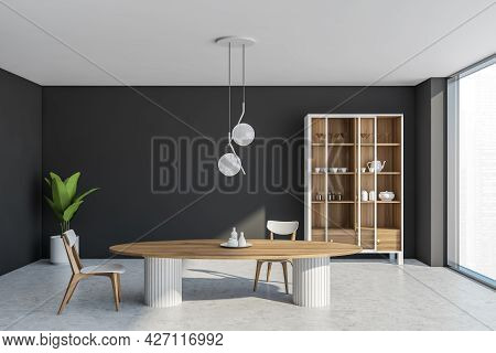 Interior With Table, Two Chairs, Cupboard With Crockery And Glass Doors, Dark Grey Walls, Pairing Wi