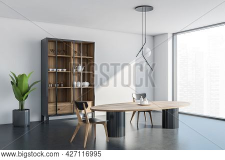 Corner View Of The Panoramic Interior With Table, Two Chairs, Cupboard With Crockery And Sliding Gla