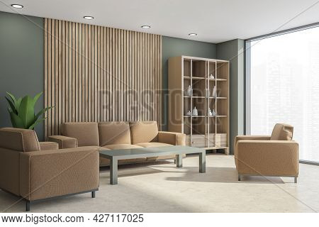 Interior With Cupboard In The Corner, Sofa, Two Chairs, Coffee Table, Panoramic View, Wooden Panelin
