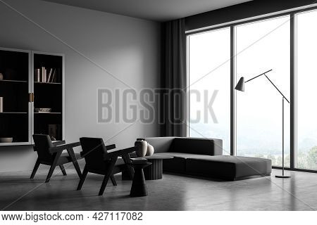 Modern Living Room Interior With Grey Concrete Floor And Big Window. Mock Up Empty Copy Space Wall.