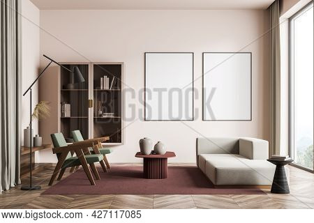 Modern Living Room Interior With Wooden Floor And Big Window. Two Mock Up Empty Posters On The Wall.