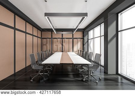 Front Interior With Modern Conference Room, Having Dark Grey And Beige Pairing Details, Classy Chand