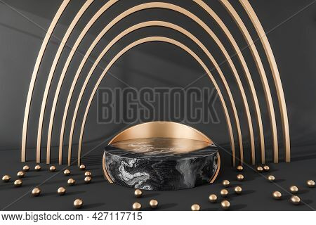 Place For Advertisement Of Jewellery, Having Dark Grey Marble And Copper Elements. Oval Arches Above