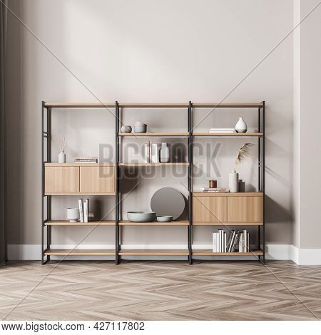 Free Standing Decorative Bookcase Of The Beige Waiting Room Interior At The Wall. Open And Closed Sh