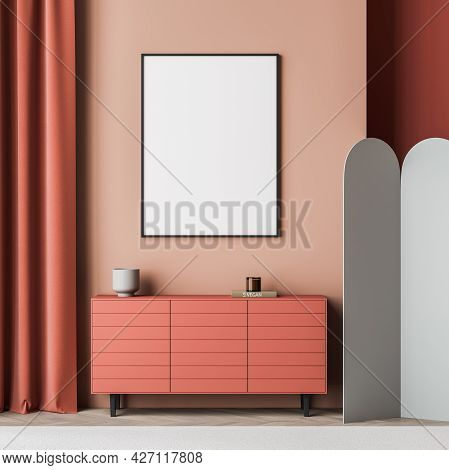 Poster In The Red And Coral Pink Waiting Room Interior With Grey Devider. Sideboard With Little Draw