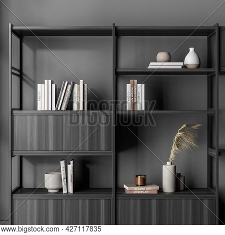 Free Standing Bookcase, Locating At The Wall In The Grey Waiting Room Interior. Open And Closed Shel