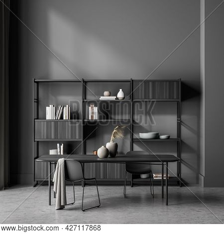 Free Standing Office Shelving Unit Of The Dark Grey Waiting Room Interior With Table And Two Chairs.