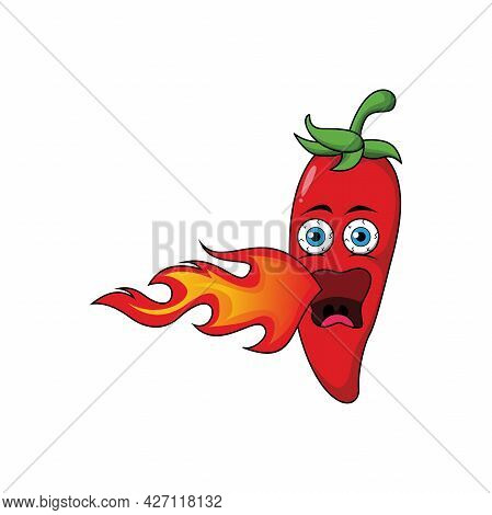 Cute Red Hot Chili Cartoon Characters Illustration Design, Chili Pepper Mascot Breathing Fire With O