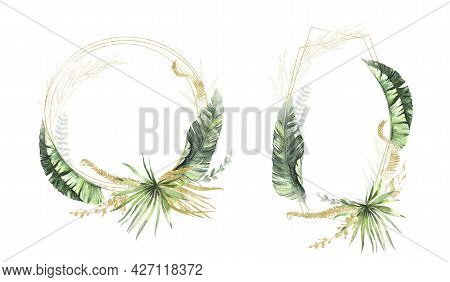 Watercolor Summer Invitations Frames With Hand Painted Tropical Dried Palm Leaves, Branches Of Green