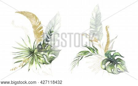 Watercolor Summer Invitations Bouquets With Hand Painted Tropical Dried Palm Leaves, Branches Of Gre