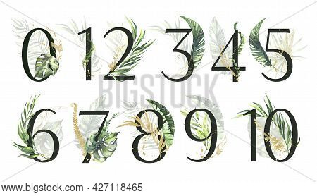 Tropical Green And Gold Floral Number Set - Digits 1, 2, 3, 4, 5, 6, 7, 8, 9, 0, 10 With Green And G