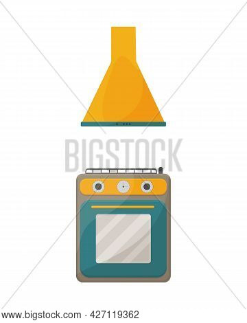 A Bright Illustration Of Kitchen Accessories, Such As A Kitchen Hood And A Gas Stove Of Yellow-green