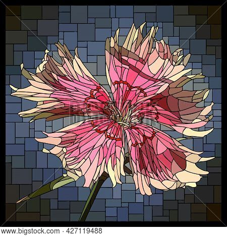 Vector Square Mosaic With Blooming Small Pink Carnation Flower In Stained Glass Window.