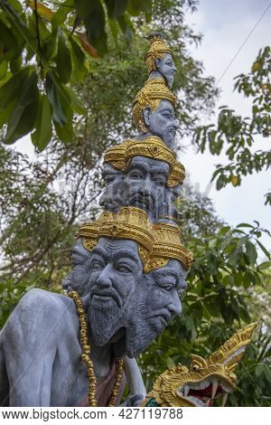 Many Heads Statue On The Street Near Buddhist Temple, Thailand, Island Samui, Southeast Asia, Close