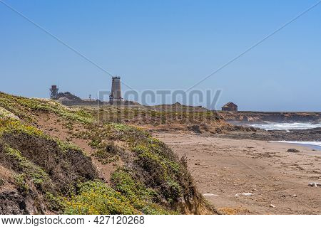 San Simeon, Ca, Usa - June 8, 2021: Pacific Ocean Coastline. Wide Landscape Of Point Piedras Blancas