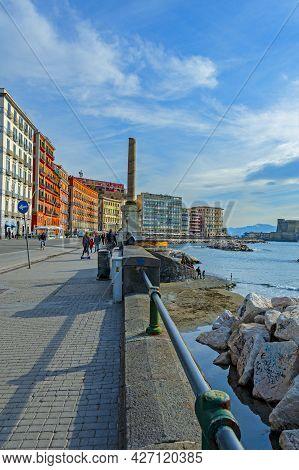 Naples, Italy - January 21, 2017: View Of Lungomare Caracciolo,  Romantic Seaside Promenade With Vie