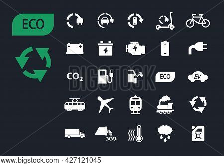 Ecology Icon Set With Green Electric Transport, Eco Technology, Renewable Energy, Environment Pollut