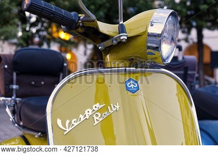 Castellamonte, Italy - 2 July 2021: This Model Of Vespa Scooter Was Produced By The Piaggio Company