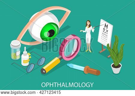 3d Isometric Flat Vector Conceptual Illustration Of Medical Ophthalmology, Professional Eye Checkup