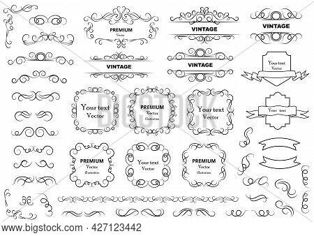 Calligraphic Design Elements . Decorative Swirls Or Scrolls, Vintage Frames , Flourishes, Labels And