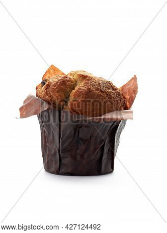 Muffin With Raisins Close-up Isolated On White Background
