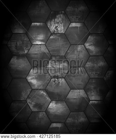 Black And White Grungy Tiled Background With Spotlight