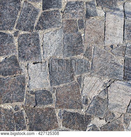 Sample Of Paving Stones With Decorative Unevenly Laid Stones