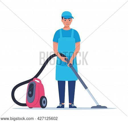 Man Dressed In A Uniform With A Vacuum Cleaner. Worker Of Cleaning Service. Vector Illustration In A