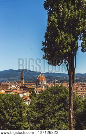 Amazing View Of Florence City From The Hill, Italy. Beautiful Sunny Day.