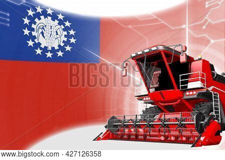 Digital Industrial 3d Illustration Of Red Advanced Rye Combine Harvester On Myanmar Flag - Agricultu