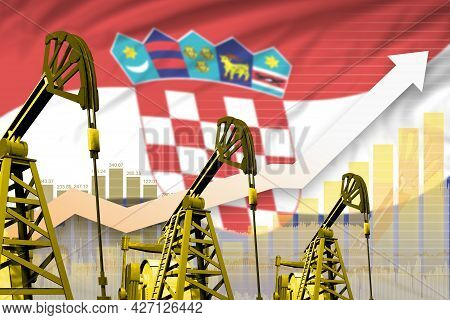 Croatia Oil Industry Concept, Industrial Illustration - Rising Up Chart On Croatia Flag Background.