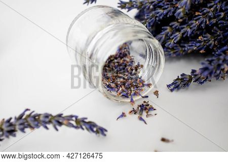 Dry Lavender Flowers On White Table, Copy Space.