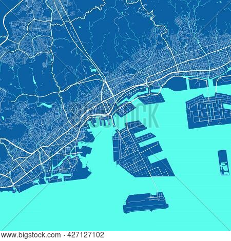 Detailed Map Poster Of Kobe City Administrative Area. Cityscape Panorama. Decorative Graphic Tourist