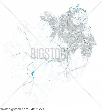 Sapporo City Map. Detailed Map Administrative Area, Land Panorama. Royalty Free Vector Illustration.