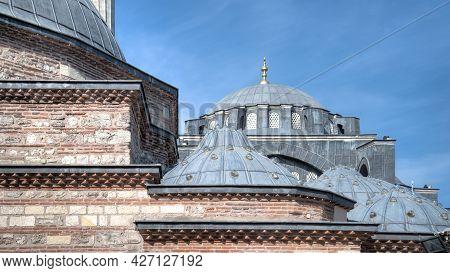 Istanbul, Turkey - April 2014: Architecture Details Of Kilic Ali Pasa Mosque At Tophane District. Ki
