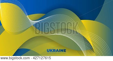 Blue Yellow Abstract Background For Ukraine Independence Day Design. Good Template For Ukraine Natio